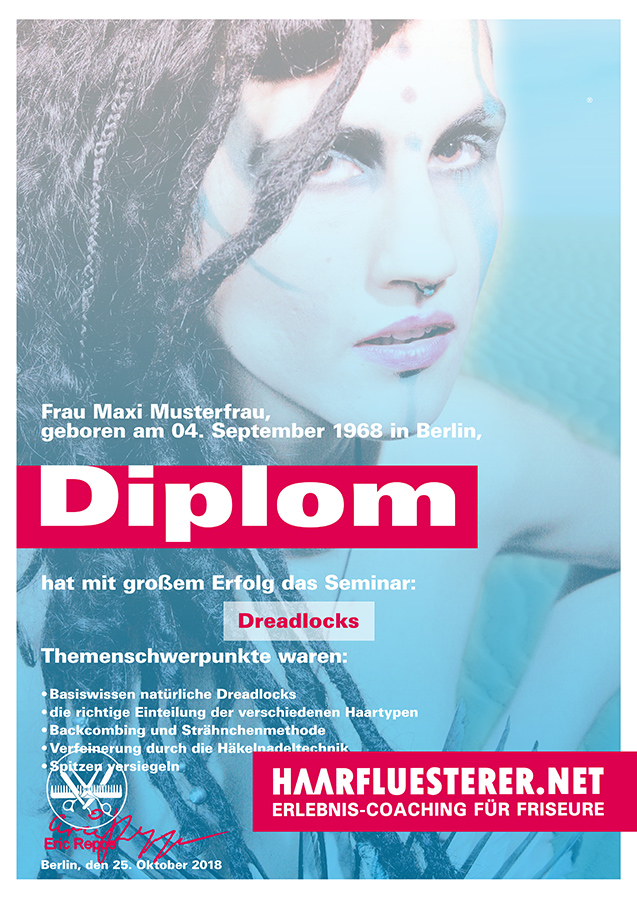 Dreadlocks-Ausbildung-Diplom-zum Dread-Artist mit dem Haarflüsterer in Berlin-